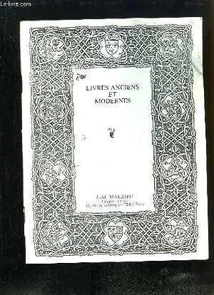 Catalogue de Livres Anciens et Modernes, de: LIBRAIRIE J.-M. MALZIEU