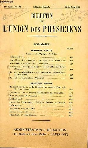 BULLETIN DE L'UNION DES PHYSICIENS / N°475 - FEVRIER-MARS 1964 / JOURNEES DE ...