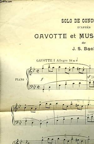 SOLO DE CONSOURS D'APRES GAVOTTE ET MUSETTE: BACH J. S.