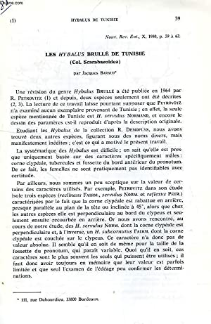 LES HYBALUS BRULLE DE TUNISIE (COL. SCARABAEOIDEA): BARAUD JACQUES