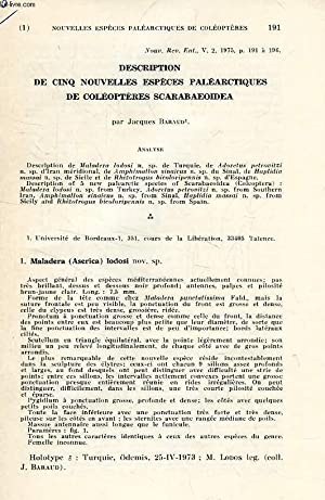 DESCRIPTION DE 5 NOUVELLES ESPECES PALEARCTIQUE DE: BARAUD JACQUES