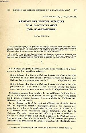 REVISION DES ESPECES IBERIQUES DU G. ELAPHOCERA: BARAUD JACQUES