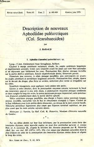 DESCRIPTION DE NOUVEAUX APHODIIDAE PALEARCTIQUES (COL. SCARABAEOIDEA): BARAUD JACQUES