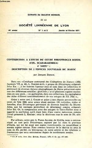 CONTRIBUTION A L'ETUDE DU GENRE RHIZOTROGUS BERTH.: BARAUD JACQUES