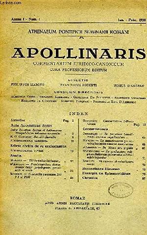 APOLLINARIS, COMMENTARIUM IURIDICO-CANONICUM, ANNUS I, N° I, IAN.-FEB. 1928: COLLECTIF
