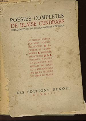 POESIES COMPLETES: CENDRARS BLAISE