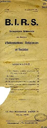 B.I.R.S., CORREPONDANCE HEBDOMADAIRE, N° 91, DEC. 1909: COLLECTIF