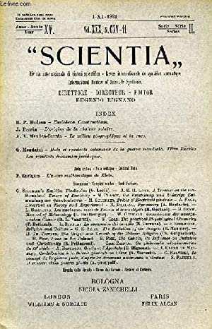 SCIENTIA, YEAR XV, VOL. XXX, N° CXV-11, SERIE II, 1921, RIVISTA INTERNAZIONALE DI SINTESI ...