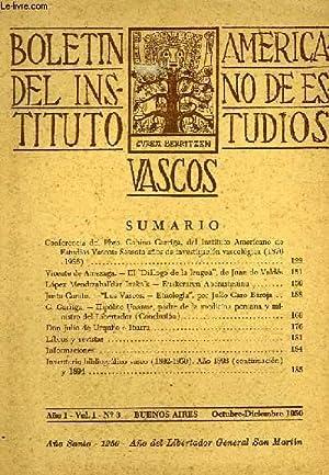 BOLETIN DEL INSTITUTO AMERICANO DE ESTUDIOS VASCOS, AÑO I, VOL. I., N° 3, OCT.-DIC. 1950...