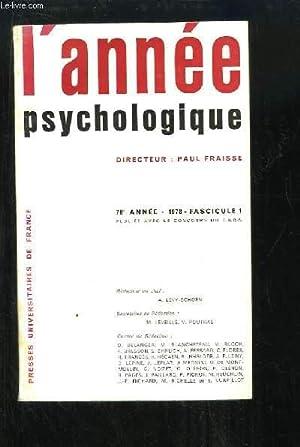 L'Année Psychologique. 78e année, 1978, Fascicule 1: FRAISSE Paul