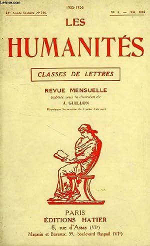 LES HUMANITES, CLASSES DE LETTRES, 32e ANNEE, N° 316, N°8, MAI 1956: COLLECTIF