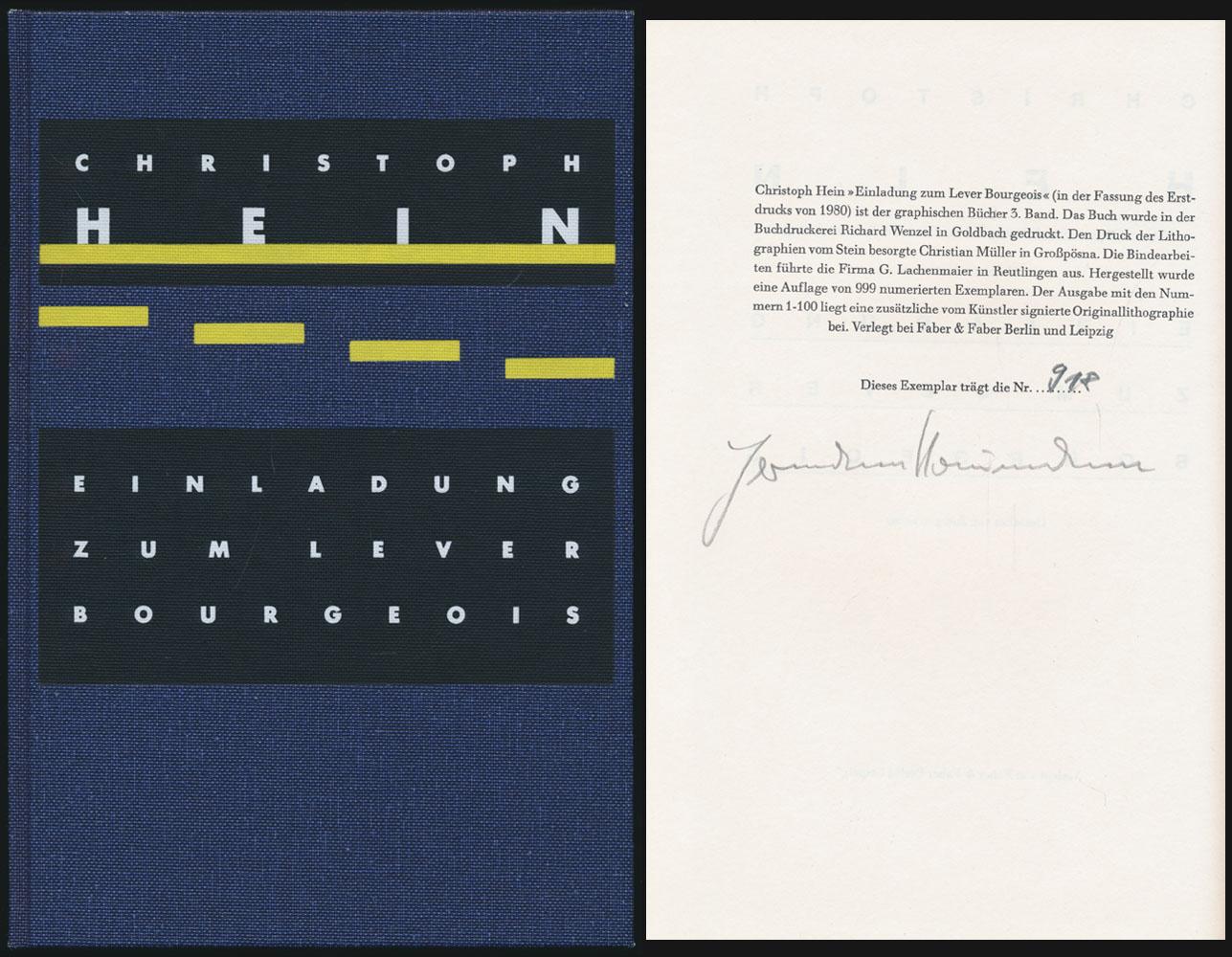 Einladung zum Lever Bourgeoise. [Signiertes Exemplar]. Mit: Hein, Christoph: