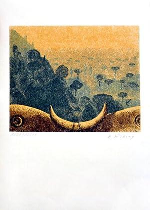 Toskanische Landschaft. [1975]. [Signierter Original-Farblinolschnitt / signed: Rössing, Karl: