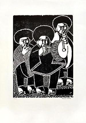 Musikanten. [Original-Linolschnitt / original linocut].: Moreau, Clement: