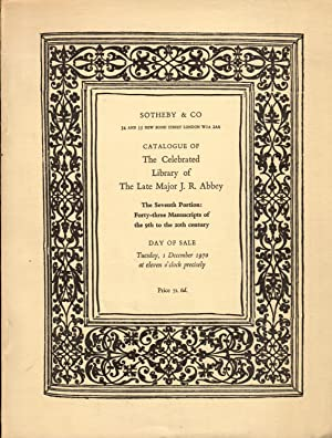Catalogue of the Celebrated Library: The Property of The Late Major J. R. Abbey. The Seventh Port...