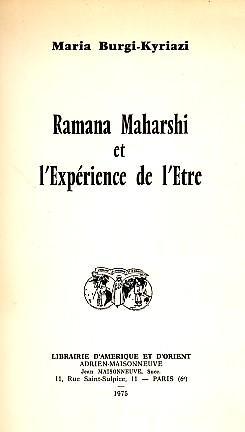 Ramana Maharshi et l'Expérience de l'Être: BURGI-KYRIAZI Maria