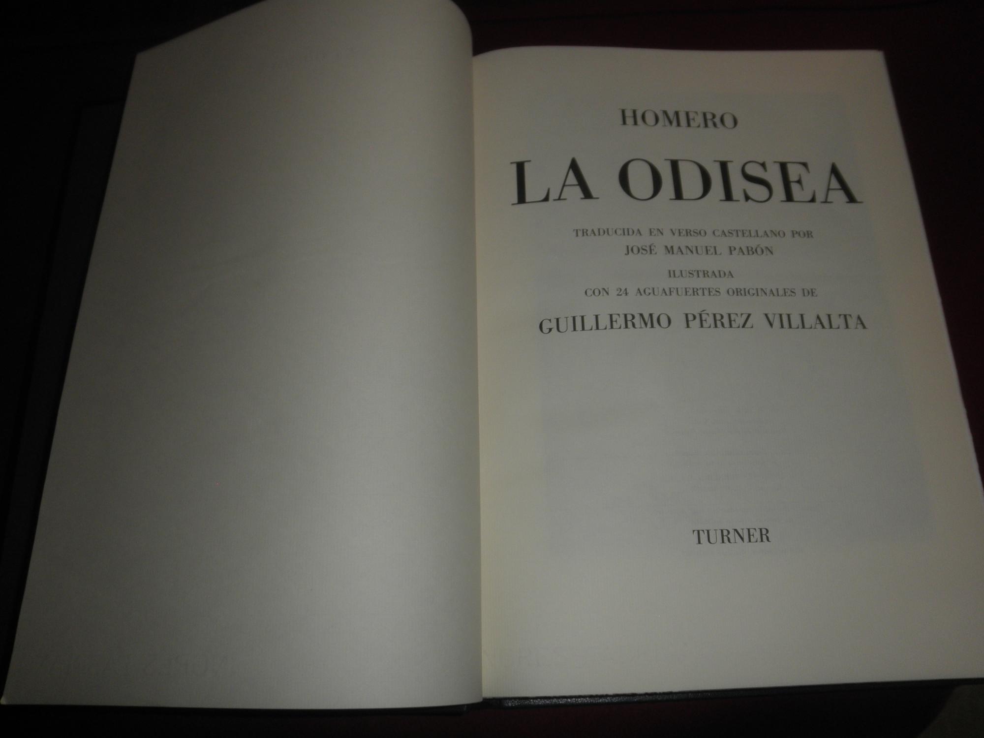 La Odisea. Traducida en verso castellano por Jose Manuel Pabon. Ilustrada con 24 aguafuertes ...