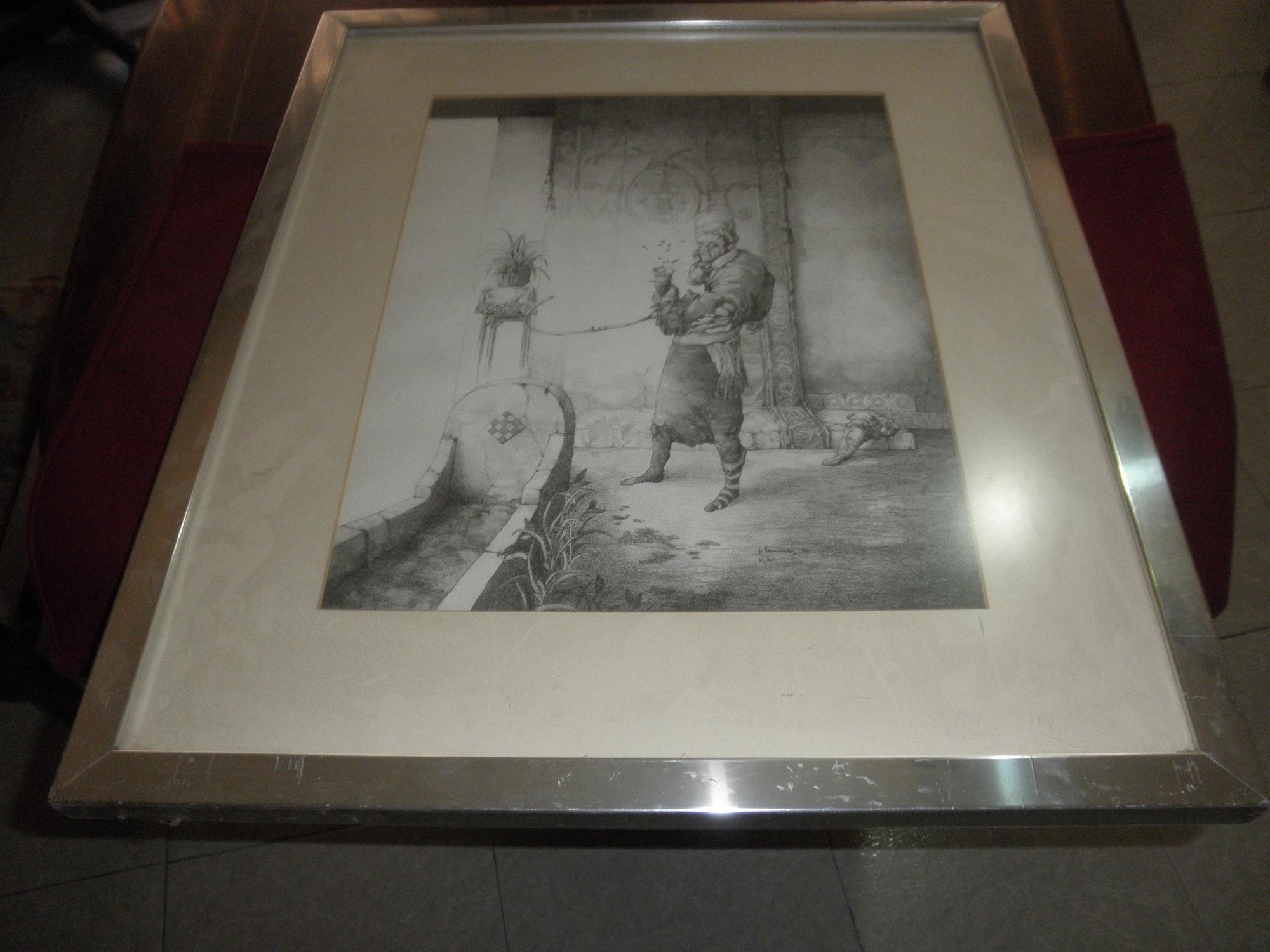 Interior. Litografía en blanco y negro sobre papel Rives BFK ...