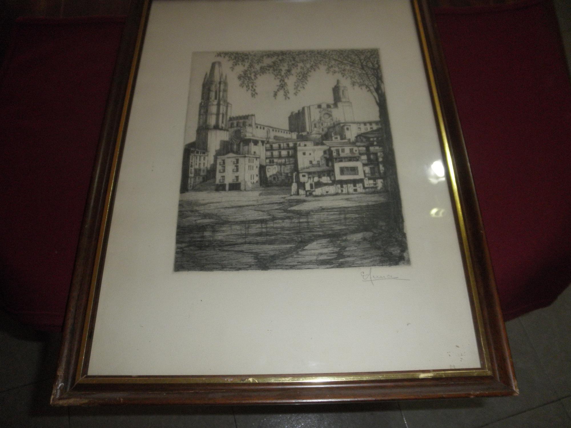 Catedral de Gerona. Grabado en blanco y negro. Enmarcado de Eulalia ...