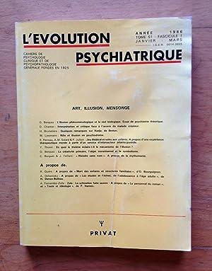 L'évolution psychiatrique. Tome 51 - Facsicule 1.: Collectif