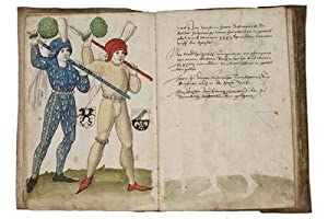 SCHEMBART CARNIVAL BOOK; illuminated Renaissance manuscript on paper with 64 drawings in pen and ...