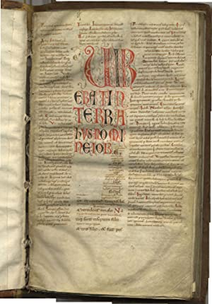 [LATIN VULGATE] JOB with the GLOSSA ORDINARIA, decorated manuscript on parchment, in Latin