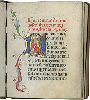 Lives of Saints Nicholas, Vitalis, Agatha, and Agnes; in Latin, illuminated manuscript on parchment
