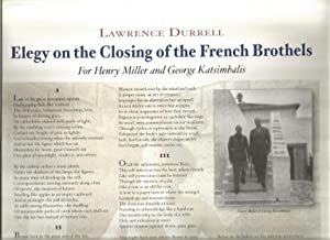 Poem]: Elegy on the Closing of the: Durrell, Lawrence