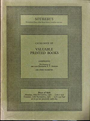 Sotheby catalogue. Valuable Printed Books comprising the property of the late Professor S T Bindo...