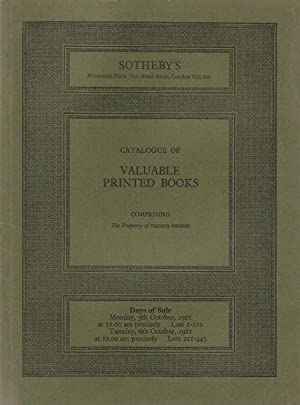Sotheby catalogue. Valuable Printed Books, comprising illustrated and colour-plate books of the 1...