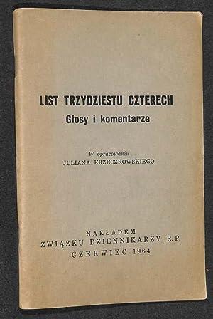 List trzydziestu czterech : glosy i komentarze .: Krzeczkowski, Julian Opracowanie