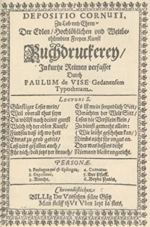 AN ACCOUNT OF THE GERMAN MORALITY PLAY ENTITLED DEPOSITIO CORNUTI TYPOGRAPHICI.: BLADES, William.