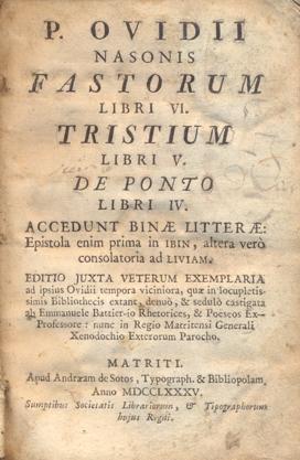 FASTORUM LIBRI VI - TRISTIUM LIBRI V: P. OVIDII NASONIS