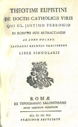 DE DOCTIS CATHOLICIS VIRIS QUI CL. JUSTINO: THEOTIMI EUPISTINI [Francesco