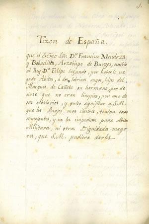 Copia literal del manuscrito que poseía el Dr. D. Matías Sangrador y Vítores] TIZÓN DE ESPAÑA, que ...