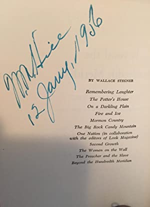 Beyond the Hundredth Meridian ( inscribed by the author ): Stegner,Wallace