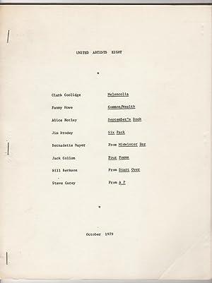 United Artists Eight (8, October 1979): Mayer, Bernadette, and Lewis Warsh (eds.), Clark Coolidge, ...