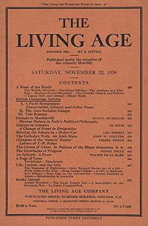 The Living Age, Volume 323, Number 4194 (November 22, 1924) : includes Prelude to Machiavelli by ...