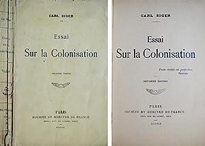 Essai sur la Colonisation.: SIGER, Carl [seudónimo de Charles Régismanset, 1877-1945].
