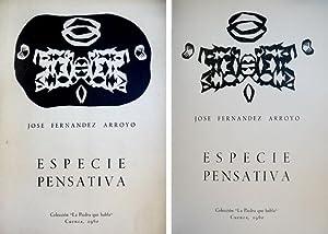 Especie pensativa. Poemas.: FERNÁNDEZ ARROYO, José.