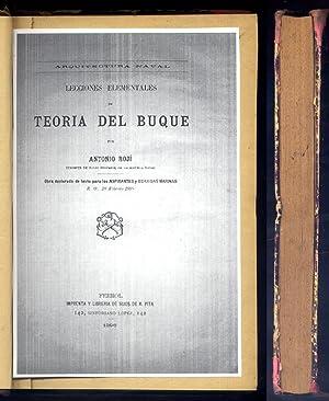 Lecciones elementales de Teoría del Buque. Arquitectura Naval.: ROJÍ ECHENIQUE, Antonio (1863-1928).