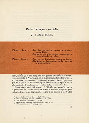 Pedro Berruguete en Italia.: ALLENDE SALAZAR, Juan.