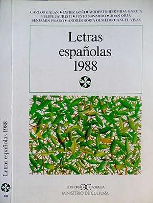 Letras Españolas 1988. (Carlos Galán Lorés, Justo: GALAN, Carlos. (y