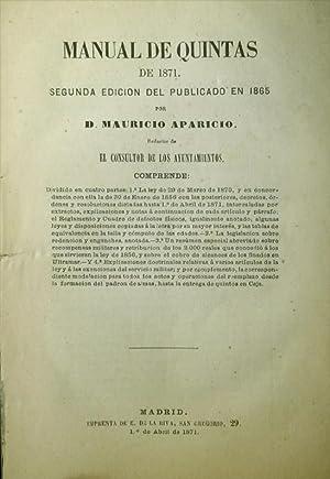 Manual de Quintas de 1871. Segunda edición: APARICIO, Mauricio.