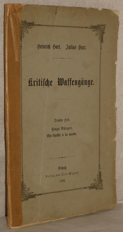 Kritische Waffengänge. Drittes Heft. (Heft 3 von: Hart, Heinrich u.
