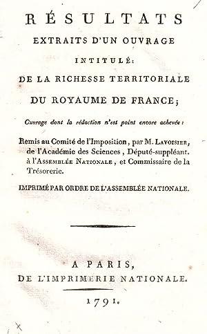 Résultats extraits d'un ouvrage intitulé : De: LAVOISIER (Antoine-Laurent de)