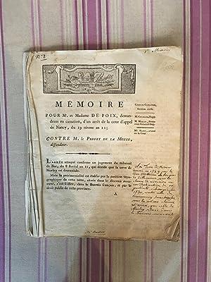 Mémoire pour Mr. et Madame De Poix, demandeurs en cassation, d'un arrêt de la ...