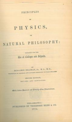Principles of physics, or natural philosophy.