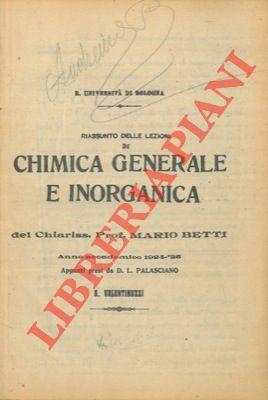 Riassunto delle lezioni di chimica generale e: PALASCIANO D. L.