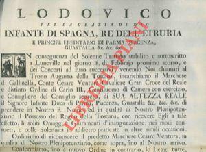 Incarico plenipotenziario al Marchese di Gallinella, Conte Cesare Ventura, fino all'arrivo nel...